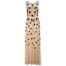 Buy Gina Bacconi Long Bead Mesh Dress, Champagne Online at johnlewis.com