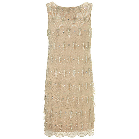 Buy Gina Bacconi Scalloped Beaded Dress, Silver Online at johnlewis.com