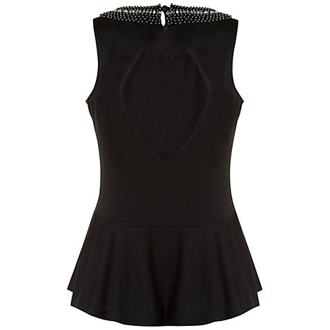 Buy Rise Jewelled Neck Top, Black Online at johnlewis.com