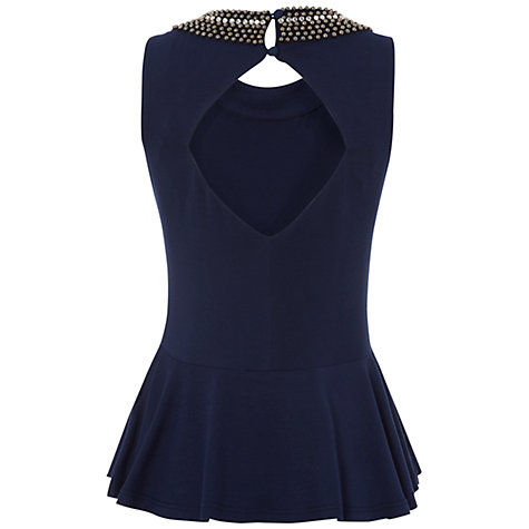 Buy Rise Jewelled Neck Top, Ruby Navy Online at johnlewis.com