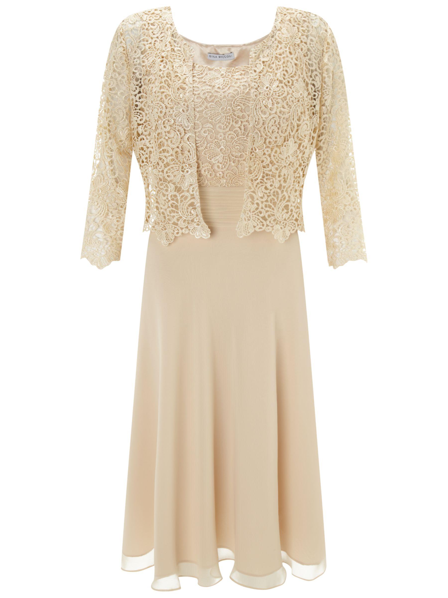 Gina Bacconi Chiffon Pleated Bodice Dress, Beige
