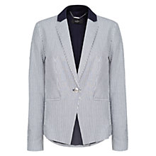 Buy Mango Linen Collar Stripe Blazer, Dark Blue Online at johnlewis.com