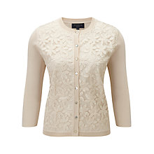 Buy Viyella Petite Embroidered Front Cardigan, Cream Online at johnlewis.com