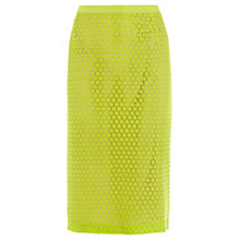 Buy Wishbone Lola Lace Pencil Skirt, Mid Yellow Online at johnlewis.com