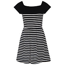 Buy French Connection County Cotton Striped Dress, Black/Winter White Online at johnlewis.com