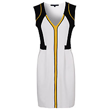 Buy French Connection Jersey Dress, White/Black/Citronella Online at johnlewis.com