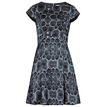Buy Reiss Baker Tortoise Print Silk Dress, Blue Online at johnlewis.com