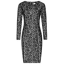 Buy Reiss Estefani Lace Panel Dress, Black/White Online at johnlewis.com