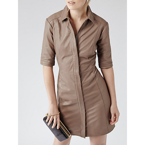 Buy Reiss Abbeville Leather Shirt Dress, Taupe Online at johnlewis.com