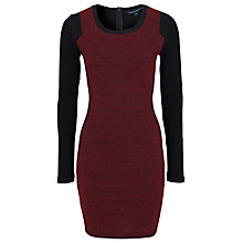 Buy French Connection Olivia Round Neck Dress, Black/Red Online at johnlewis.com