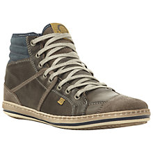 Buy Dune Solar Eclipse Leather Hi-Top Trainers, Grey Online at johnlewis.com