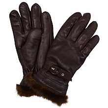 Buy John Lewis Leather Fur Trim Gloves, Chocolate Online at johnlewis.com