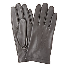 Buy John Lewis Leather Fleece Lined Gloves, Teal Online at johnlewis.com