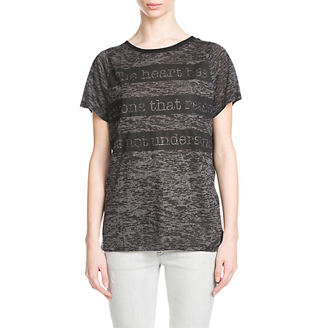 Buy Mango Rhinestone Typograpic Devore T-Shirt, Black Online at johnlewis.com