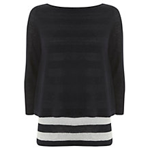 Buy Mint Velvet Stripe Layer Knit Top, Navy / Ivory Online at johnlewis.com