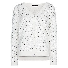 Buy Mango Polka Dot V-Neck Jumper, Natural White Online at johnlewis.com