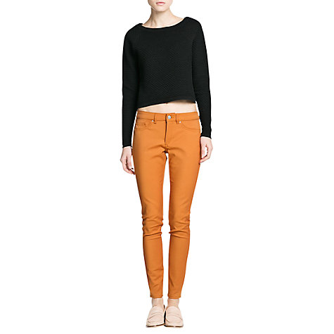 Buy Mango Textured Cropped Jumper, Black Online at johnlewis.com
