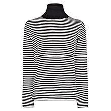 Buy Mango Striped Turtle Neck Jumper, Black Online at johnlewis.com
