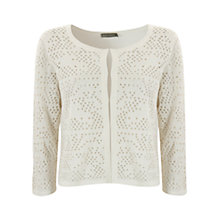 Buy Mint Velvet Holey Stitch Cardigan, Ivory Online at johnlewis.com