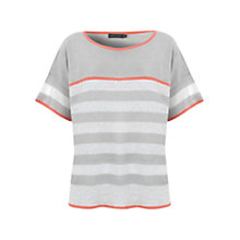 Buy Mint Velvet Stripe Neon Trim Knit Grey/Ivory Online at johnlewis.com