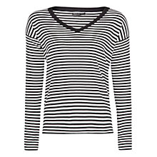 Buy Mango Striped V-Neck Jumper, Black Online at johnlewis.com