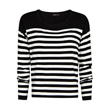 Buy Mango Striped Boxy Jumper, Black Online at johnlewis.com