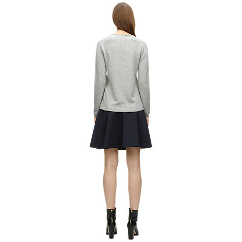 Buy Whistles Clea Contrast Cashmere Jumper, Pale Grey Online at johnlewis.com
