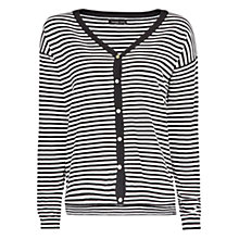 Buy Mango Striped V-Neck Cardigan, Black Online at johnlewis.com