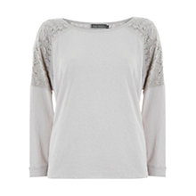 Buy Mint Velvet Lace Back Sweat Top, Stone Online at johnlewis.com