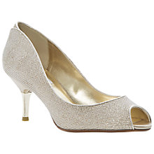Buy Dune Decra Fabric Glitter Peep Toe Court Shoe, Champagne Online at johnlewis.com
