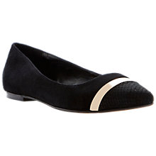 Buy Dune Ameretto Gold Metal Trim Dressy Ballerina Pumps, Black Online at johnlewis.com