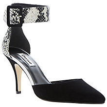 Buy Dune Dolphin Suede Reptile Mix Two Part Court Shoe, Black Online at johnlewis.com
