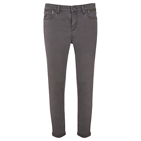 Buy Mint Velvet Zip Cropped Jeans, Mocha Online at johnlewis.com