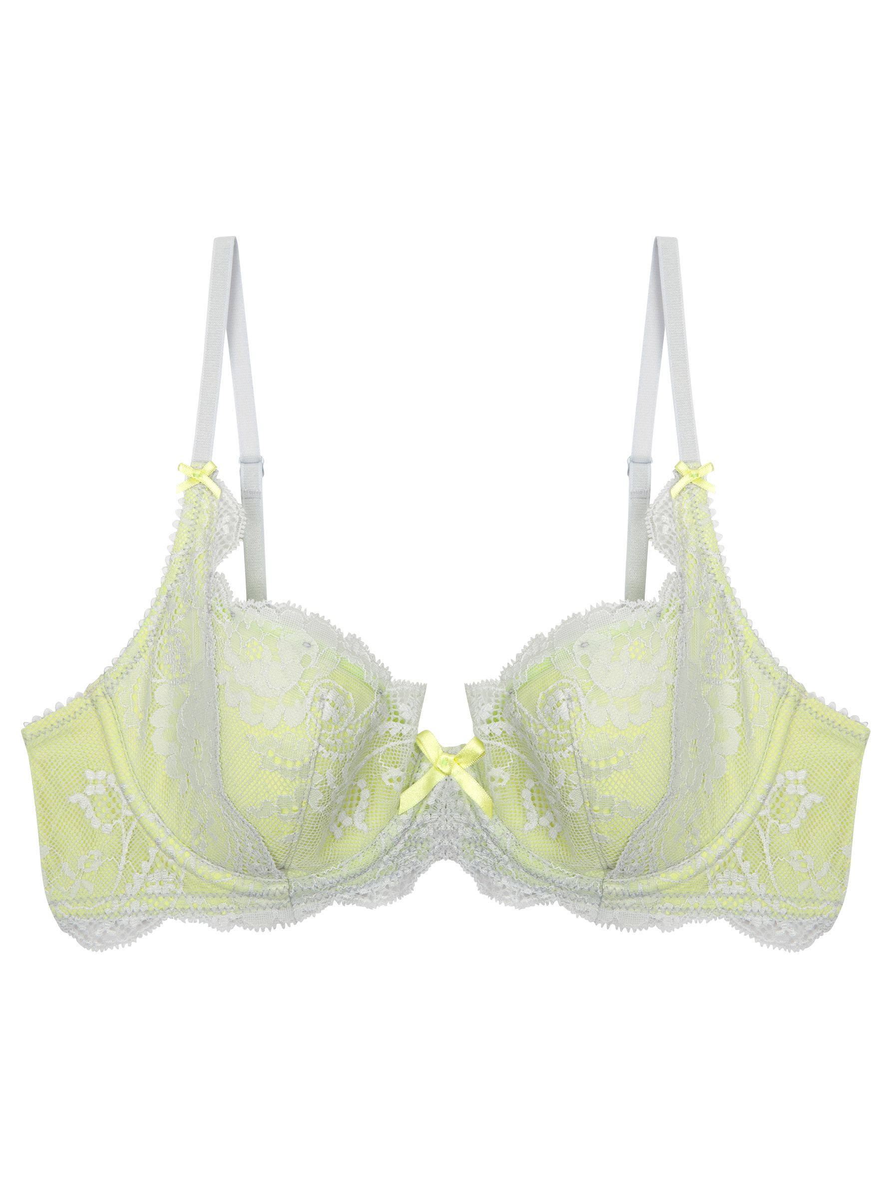 Elle Macpherson Intimates Gentle Jade Contour Bra, Gray Dawn / Sunny Lime