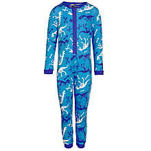 Buy John Lewis Boy Dino Skeleton Print Onesie, Blue Online at johnlewis.com