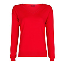Buy Mango Essential V-Neck Jumper, Bright Red Online at johnlewis.com