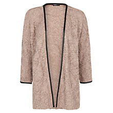 Buy Mango Faux Leather Trim Cardigan, Light Brown Online at johnlewis.com