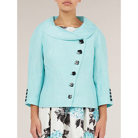 Buy Precis Petite Asymmetric Crinkle Jacket, Blue Online at johnlewis.com