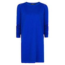 Buy Mango Button Jersey Dress, Bright Blue Online at johnlewis.com