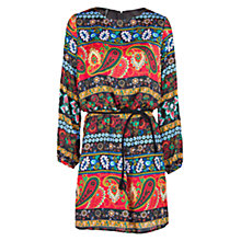 Buy Mango Paisley Print Satin Dress, Black Online at johnlewis.com