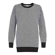 Buy Hobbs Chequered Jumper, Black White Online at johnlewis.com