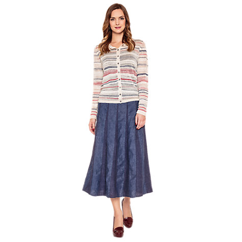 Buy East Space Dye Stripe Cardigan, Pearl Online at johnlewis.com