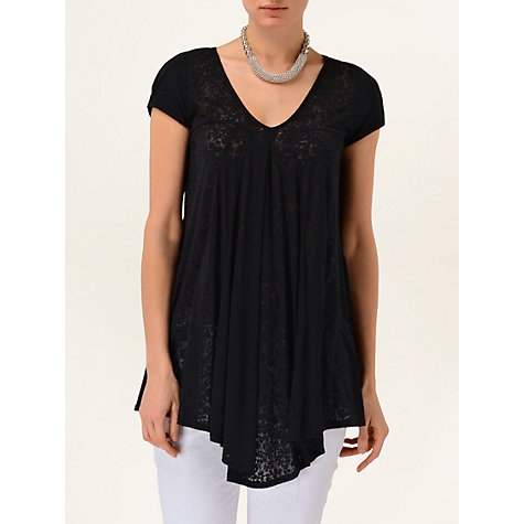 Buy Phase Eight Lana Longline Burnout Top, Black Online at johnlewis.com