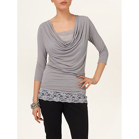 Buy Phase Eight Lace Trim Tallie Top, Silver Grey Online at johnlewis.com