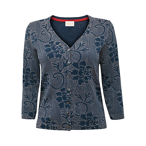 Buy East Ren Printed Cotton Cardigan, Ink Online at johnlewis.com