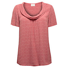 Buy East Shibori Cowl Neck Top, Pillarbox Red Online at johnlewis.com