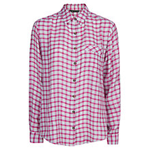 Buy Mango Check Lightweight Shirt, Medium Pink Online at johnlewis.com