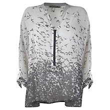 Buy Mint Velvet Eliza Print Zip Front Blouse, Grey Online at johnlewis.com