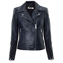 Buy Whistles Lita Leather Biker Jacket, Navy Online at johnlewis.com