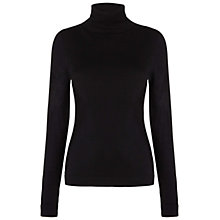 Buy Whistles Silk Mix Roll Neck Jumper, Black Online at johnlewis.com